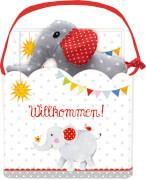 Geschenkset BabyGlück - Willkommen! Mit Büchlein und Stoffelefant, 32 Seiten