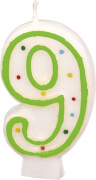 Amscan Zahlenkerze ''9'' (Motiv), Wachs , ca. 14x8x2 cm